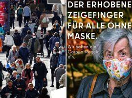 Idosa mostrando o dedo do meio é 'arma' da prefeitura de Berlim para convencer turistas a usarem máscaras