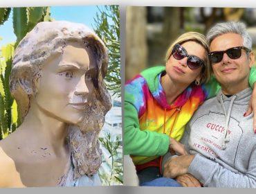 Otaviano Costa mostra jardim de sua casa e estátua em tamanho real da mulher, Flávia Alessandra. Às imagens!