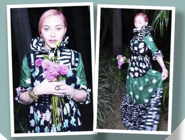 """Madonna usa modelito de marca nigeriana com tecido iorubá e a estilista comemora: """"Madonna com nosso vestido. Morri!!"""
