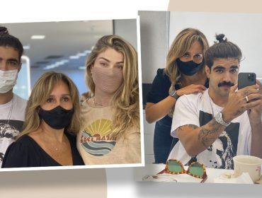 Caio Castro aparece usando camiseta com estampa de Grazi Massafera e faz pegadinha com cabeleireira