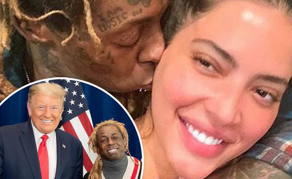 Lil Wayne com a agora ex, Denise Bidot e, no detalhe, o rapper com Trump