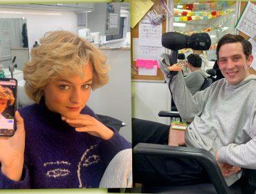 Emma Corrin, a princesa Diana de 'The Crown', revela fotos e vídeos inéditos dos bastidores da série. Vem ver!