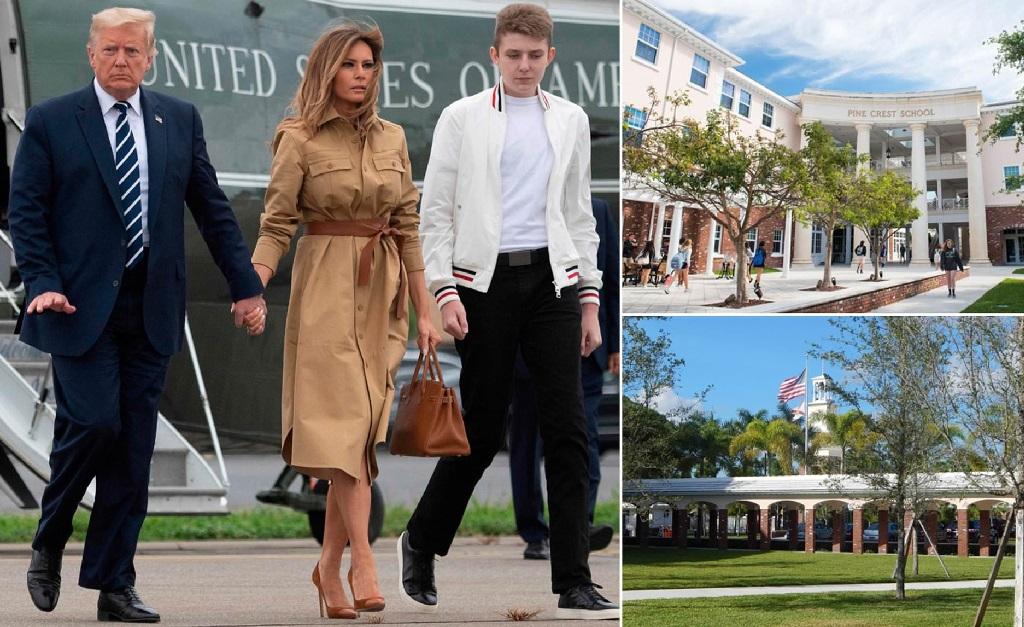 Donald e Melania com seu filho, Barron Trump, e a escola que a primeira-dama dos EUA visitou