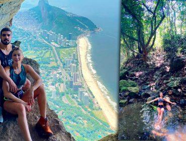 Grazi Massafera e Caio Castro começam o ano nas alturas com trilha e escalada no Rio de Janeiro