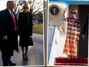 Melania Trump veste luto com bolsa de 400 mil reais para deixar a Casa Branca, mas desembarca na Flórida repaginada. Vem ver!