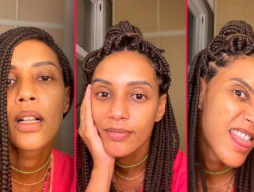 """Taís Araujo volta ao trabalho animada, com playlist, dancinha e selfies sem maquiagem: """"Testando caras e bocas por aí"""""""
