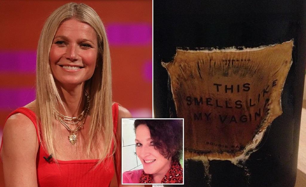 Gwyneth Paltrow e o que restou da vela recebida por Thompson (no detalhe)