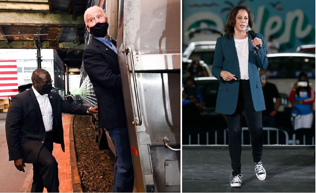 Biden embarcando em um trem e Harris e bordo de um par de Converses