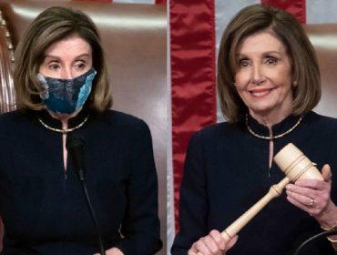 Nancy Pelosi em setembro (esquerda) e nessa quarta