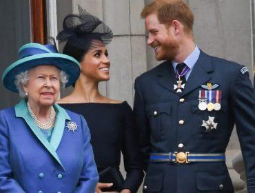 Elizabeth II, Meghan Markle e o príncipe Harry