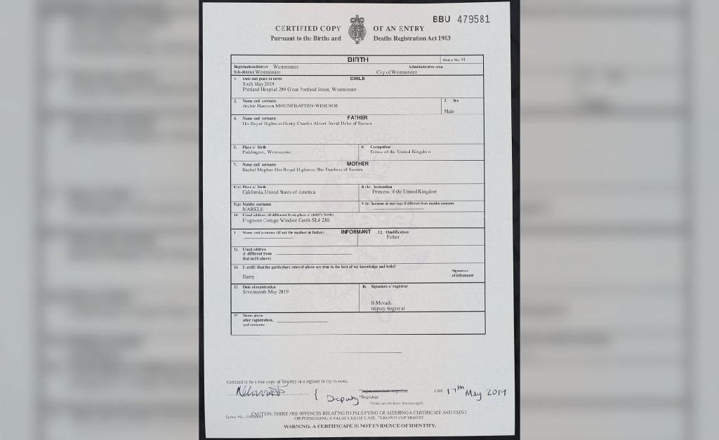 O certificado de nascimento de Archie Harrison