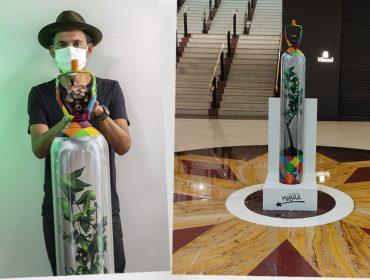 Obra de Eduardo Kobra feito com cilindro de oxigênio inativo é exposta no Iguatemi São Paulo