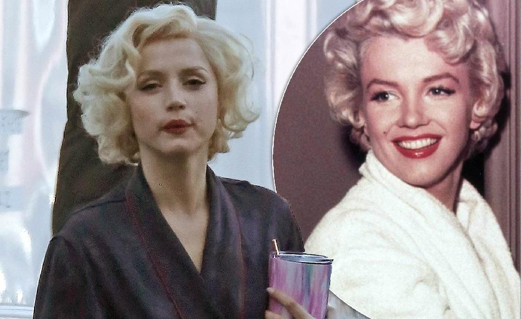 Ana de Armas caracterizada como Marilyn Monroe (no detalhe, à direita)