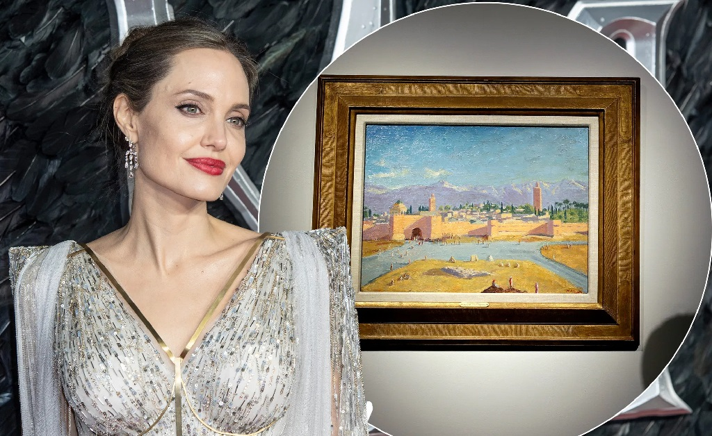 Angelina Jolie e o quadro assinado por Churchill
