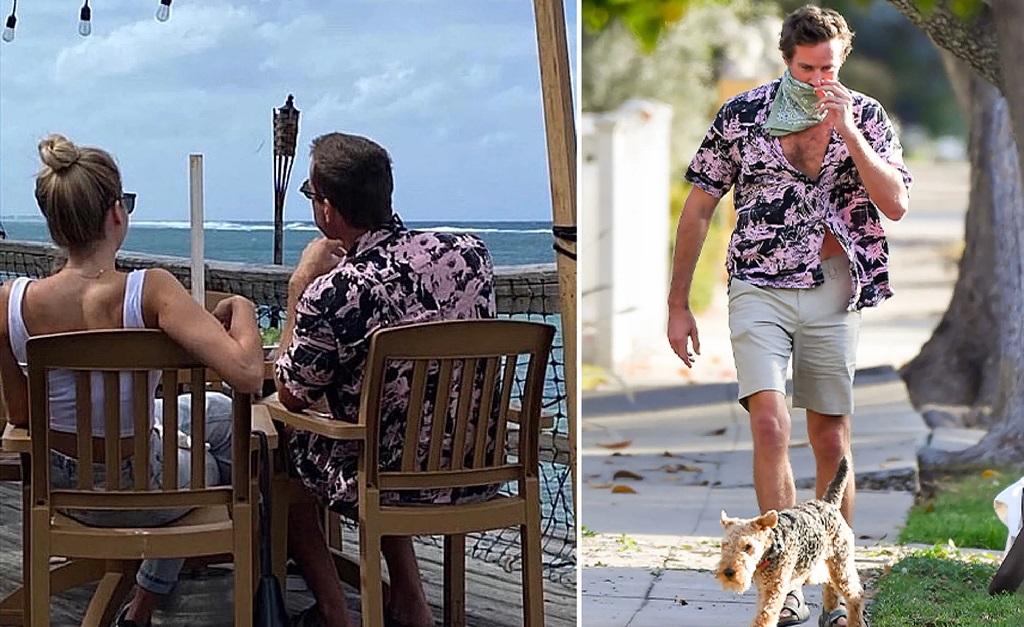 Armie Hammer com uma loira misterioa em Grand Cayman, nas Ilhas Cayman