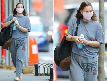 Drew Barrymore descalça nas ruas de NY