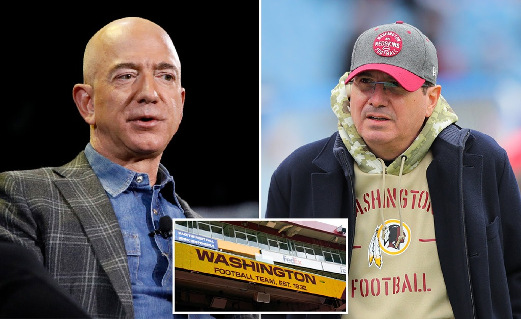 Jeff Bezos e Daniel Snyder, o atual controlador do Washington Football Team
