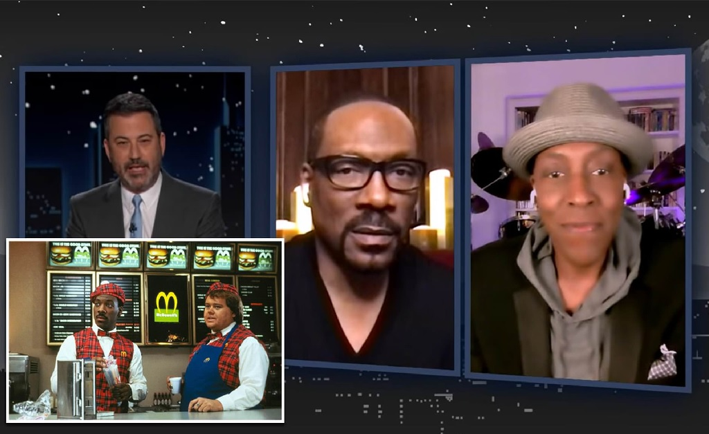 Murphy e Hall no programa de Kimmel (à direita) e, no detalhe, Murphy e Anderson atuando juntos