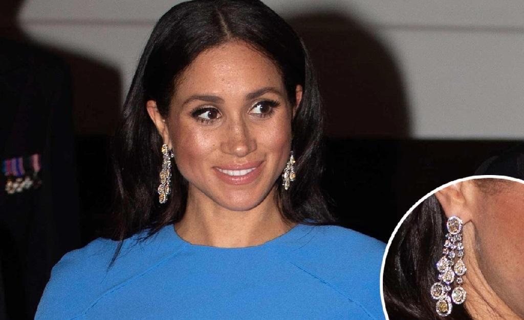 Markle e os brincos presenteados a ela pelo príncipe herdeiro da Arábia Saudita