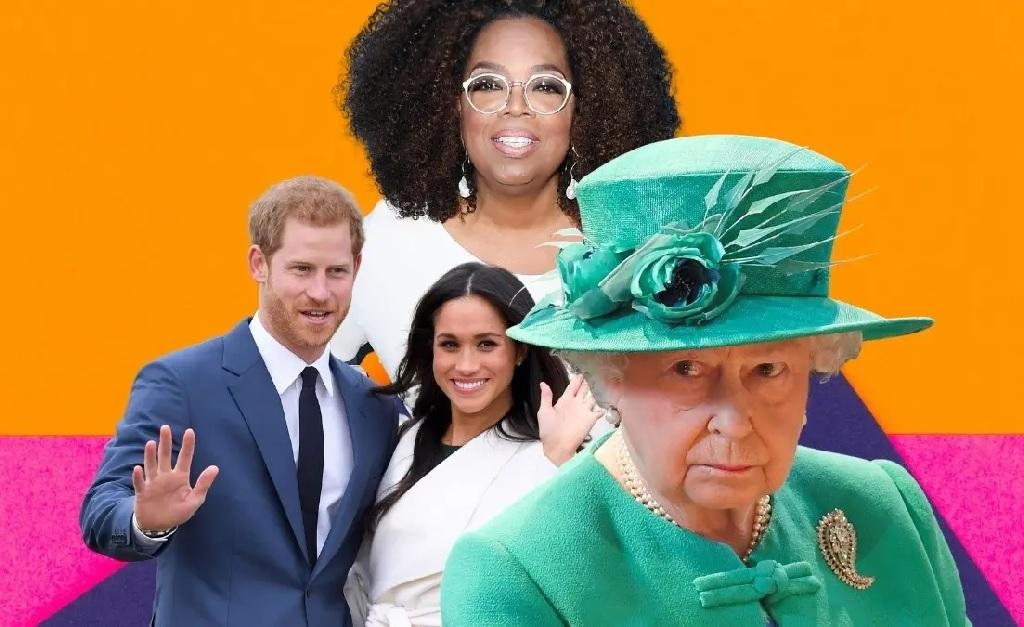 Oprah Winfrey (ao fundo), Harry e Meghan, e a rainha Elizabeth II