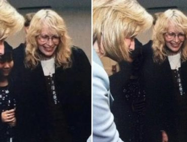 Mia Farrow e sua filha Tam, na imagem original e na supostamente alterada