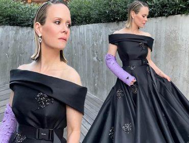 Sarah Paulson e seu look by Prada para o Glodo de Ouro 2021