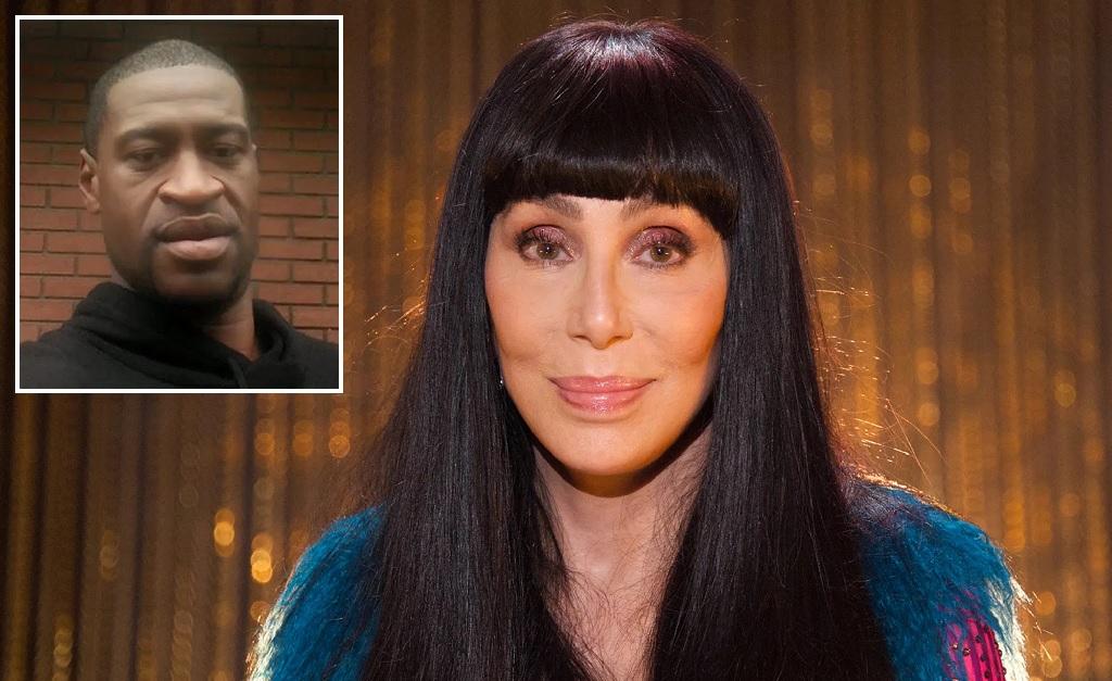 Cher e, no detalhe à esquerda, George Floyd