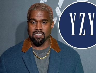 Kanye West e a logomarca da Yeezy x Gap