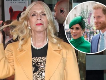 Lady Colin Campbell e, no detalhe, Meghan Markle e o príncipe Harry