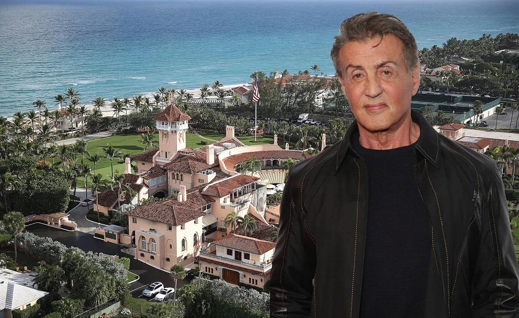 Sylvester Stallone e, ao fundo, o exclusivo Mar-a-Lago