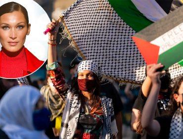 Bella Hadid durante o protesto que rolou no Brooklyn, no sábado