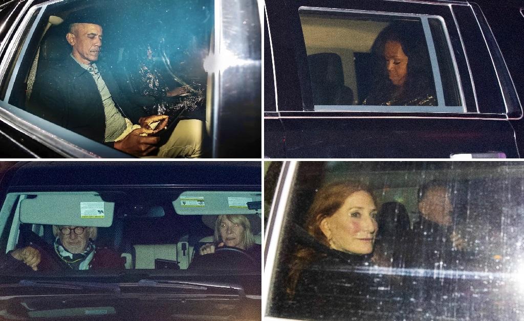 Em sentido horário: Barack e Michelle no carro, Patti Scialfa, e o casal Kate Capsham e Steven Spielberg
