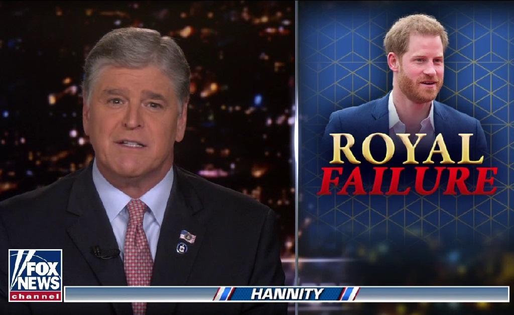 """Sean Hannity soltando o verbo contra Harry em seu programa: """"fracassado real"""""""