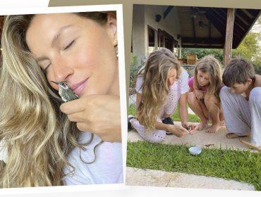 """Gisele Bündchen revela momento familiar ao cuidar de beija-flor machucado com os filhos e comenta: """"Nunca esqueceremos esse dia mágico"""""""