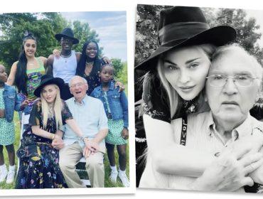 """Madonna comemora os 90 anos do pai ao lado de cinco filhos: """"Ele me ensinou a importância de conquistar meu próprio caminho na vida"""""""