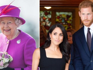 Elizabeth II, e a duquesa e o duque de Sussex