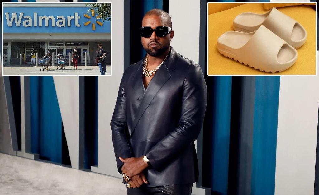 O rapper está acusando o Walmart de plágio por causa de uma sandália (no detalhe)