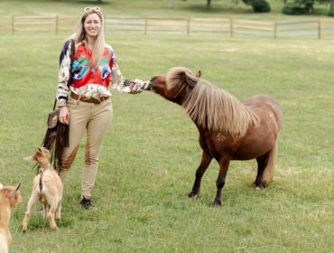 Danielle Hankin com o pônei Danny DeVito e os alpacas Modigliani e Draco