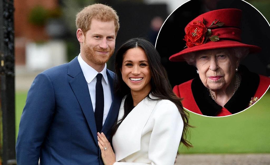 Meghan Markle e Harry, e, no detalhe, a rainha: será que ela aprovou a escolha?