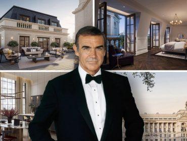 Imagens do The OWO Residences e, em destaque, Sean Connery, primeiro intérprete de James Bond na telona