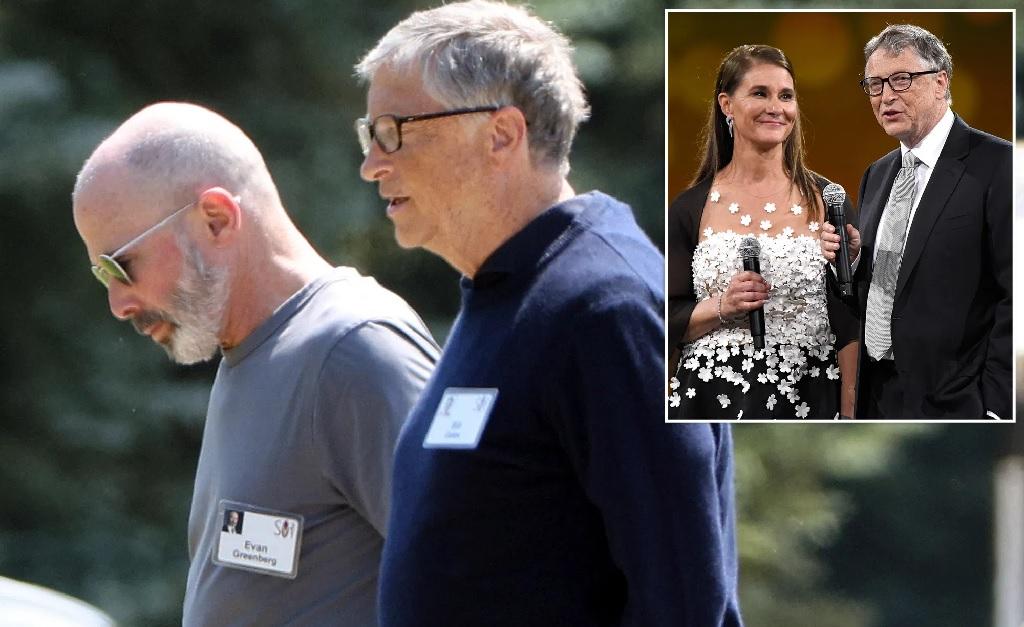 Gates, acompanhado de um segurança e, no detalhe, o centibilionário com Melinda Gates