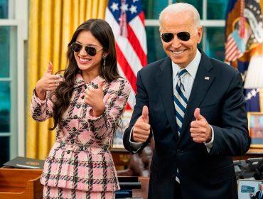 """Olivia Rodrigo faz a linha """"girl boss"""" em encontro com o presidente Joe Biden"""