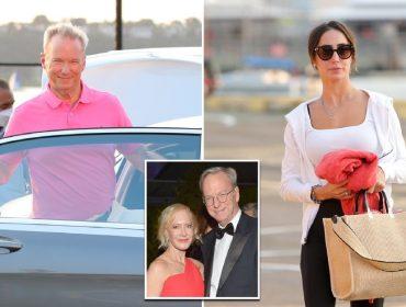 Eric Schmidt e Michelle Ritter e, no detalhe, o bilionário com a mulher