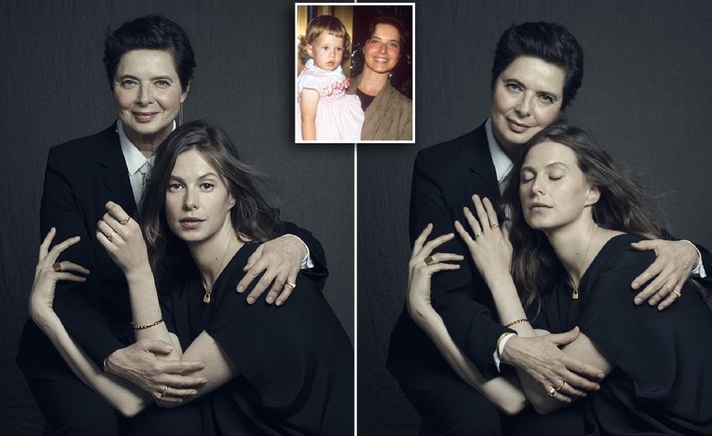 Isabella Rossellini com a filha, Elettra Rossellini Wiedermann e, no detalhe, as duas em clique antigo