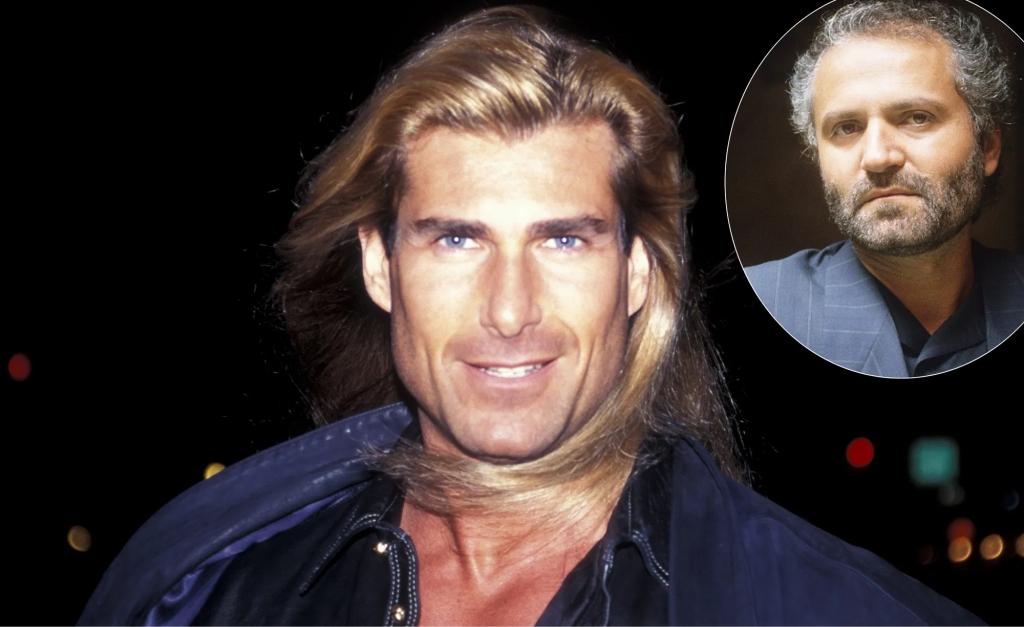 Fabio em seu auge e, no detalhe, Gianni Versace