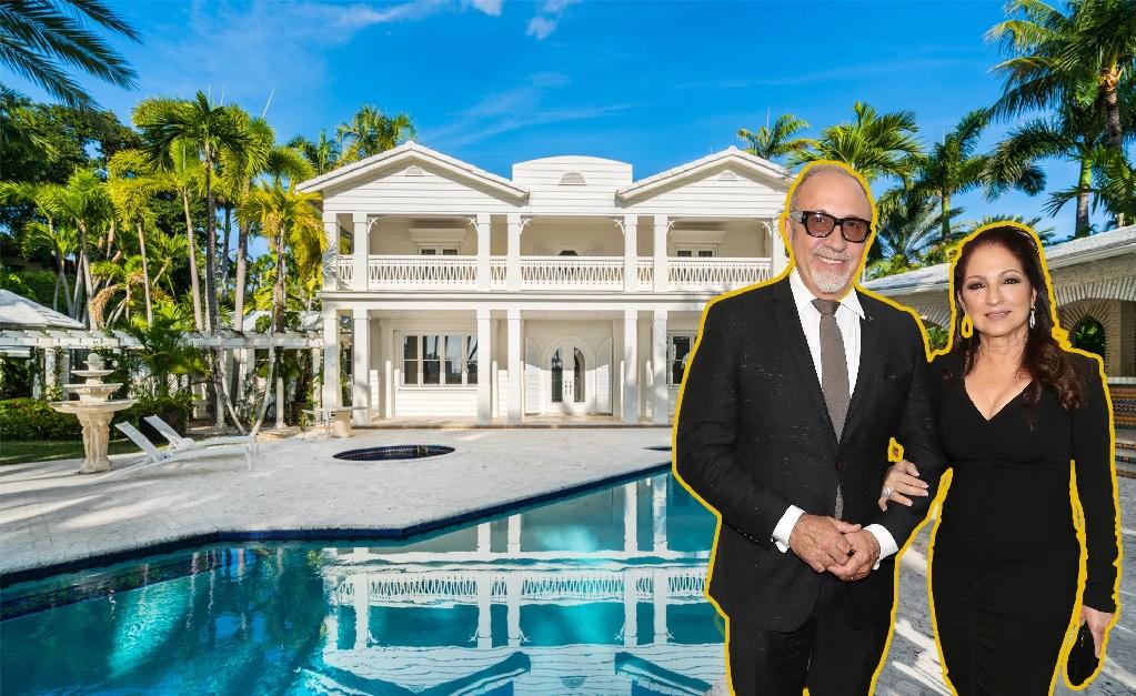 O casal Emilio e Gloria Estefan e a propriedade vendida