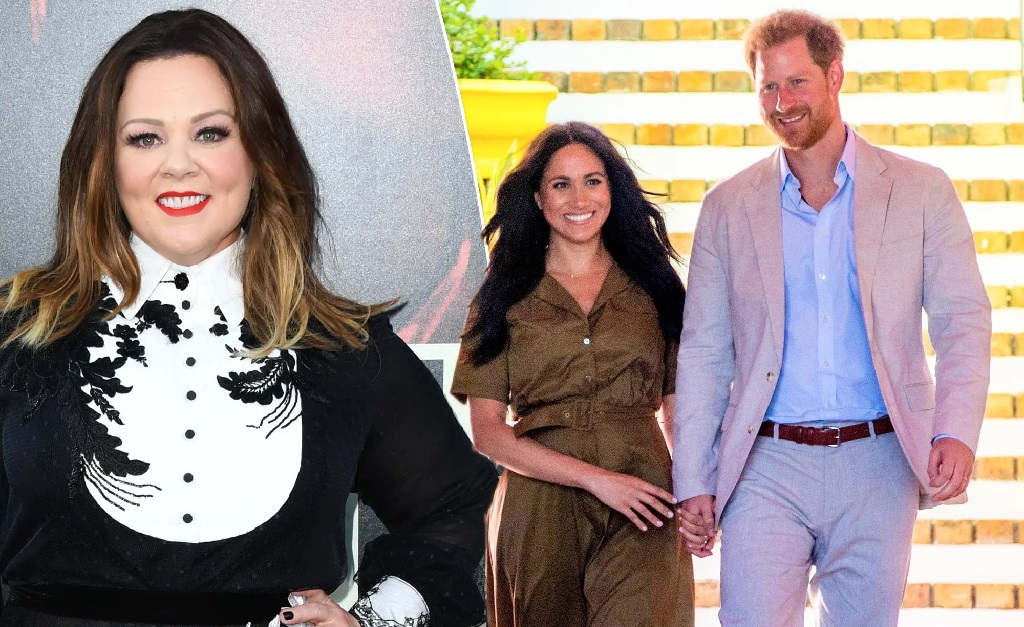 Melissa McCarthy, Meghan Markle e o príncipe Harry