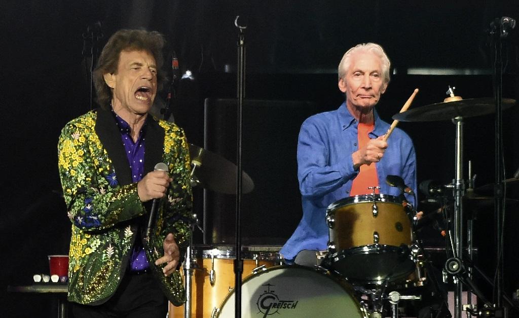 Mick Jagger, vocalista dos Rolling Stones, e Charlie Watts, que era o baterista da banda