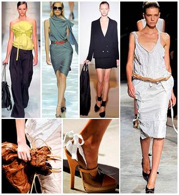 Os looks amarrotados de Miuccia Prada (foto maior) ganham destaque na Semana de Moda de Milão