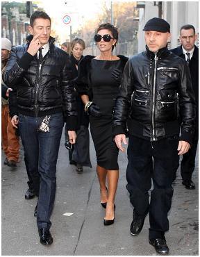 Domenico Dolce, Victoria Beckham e Stefano Gabbana: trio fashion em Milão